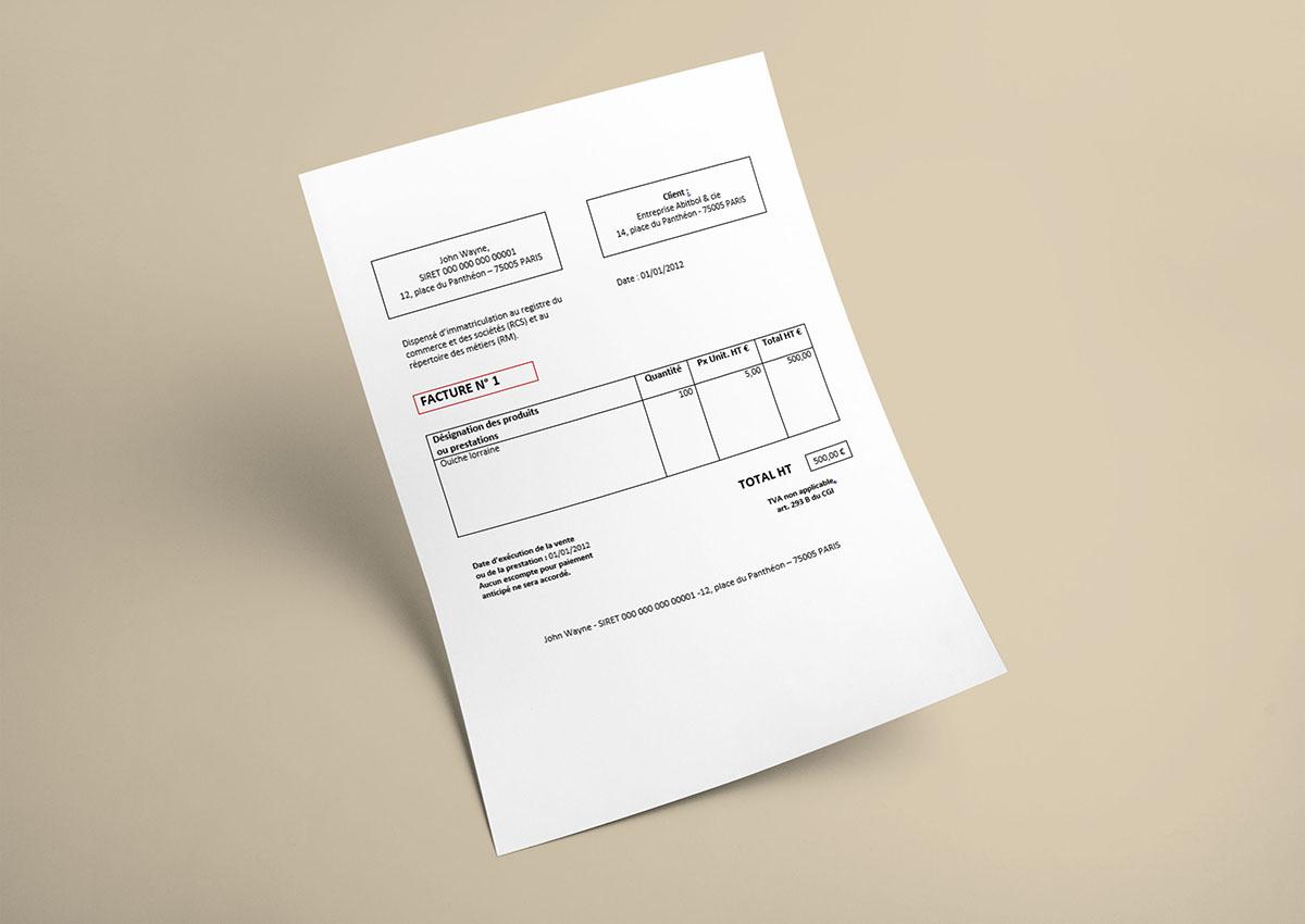 facture type ditable pour auto entrepreneur blog de cl ment fran ois. Black Bedroom Furniture Sets. Home Design Ideas