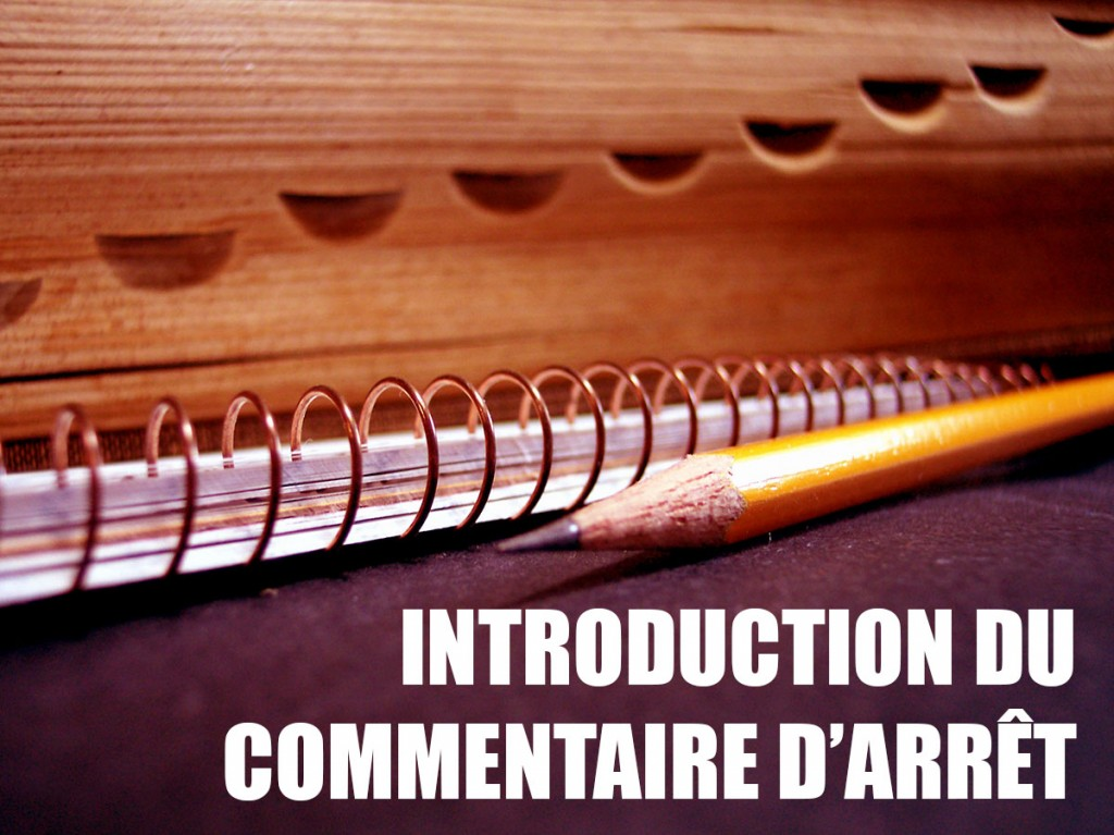Introduction du commentaire d'arrêt