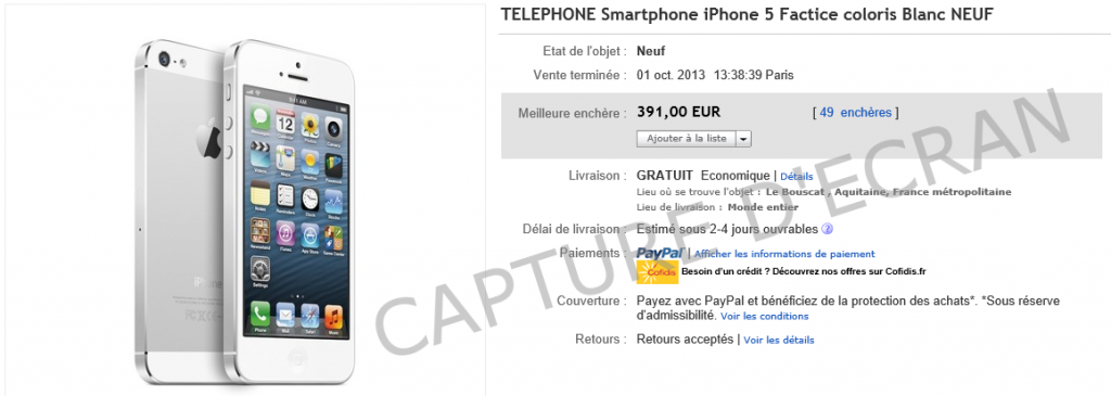 iPhone factice 391 euros