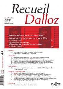 Couverture Recueil Dalloz 2016 n° 9