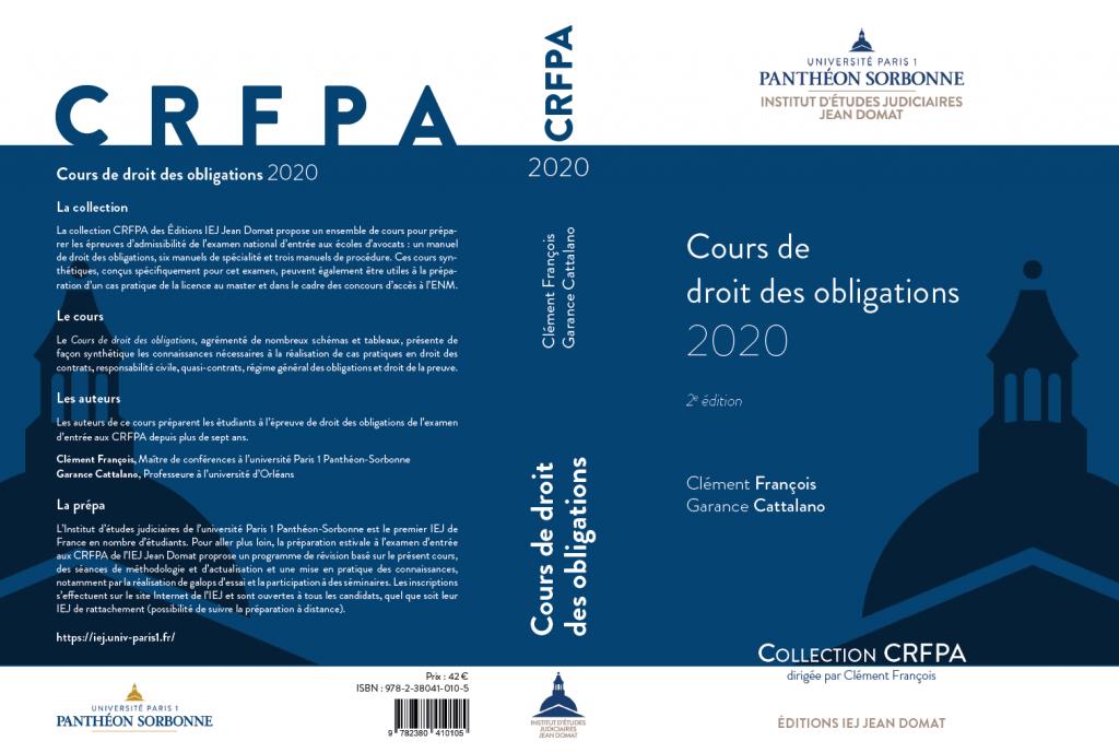 Cours de droit des obligations 2020 CRFPA couverture