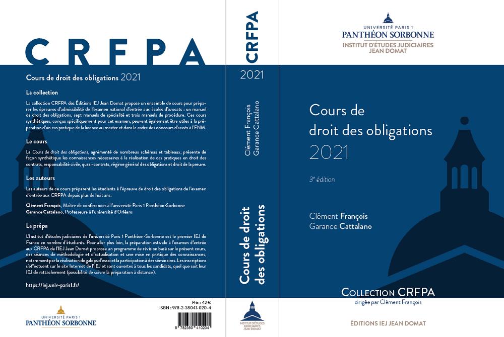 Couverture manuel Cours de droit des obligations 2021